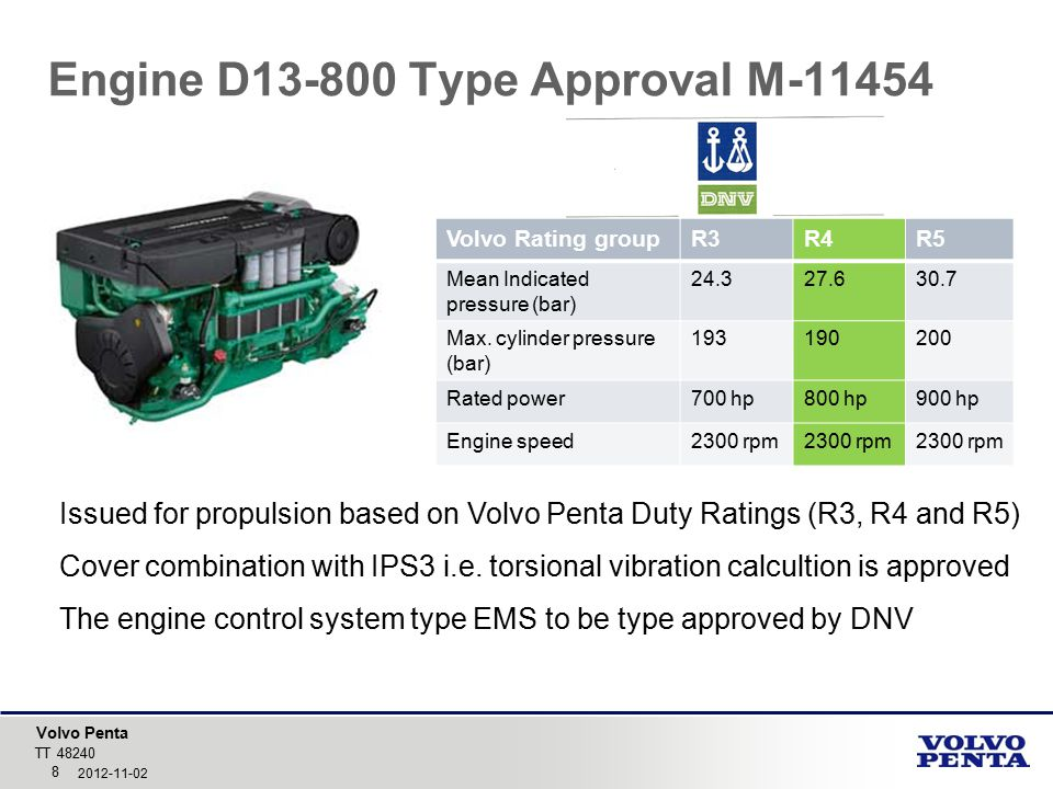 Engine D13-800 Type Approval M-11454