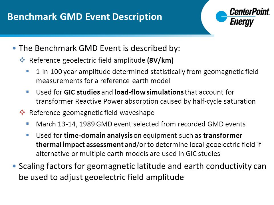 Benchmark GMD Event Description