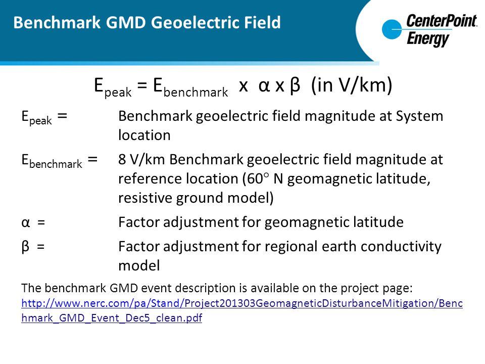 Epeak = Ebenchmark x α x β (in V/km)