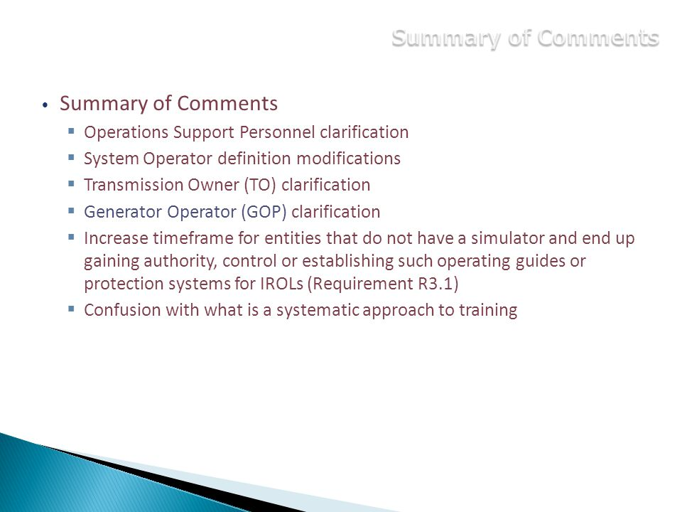 Summary of Comments Summary of Comments