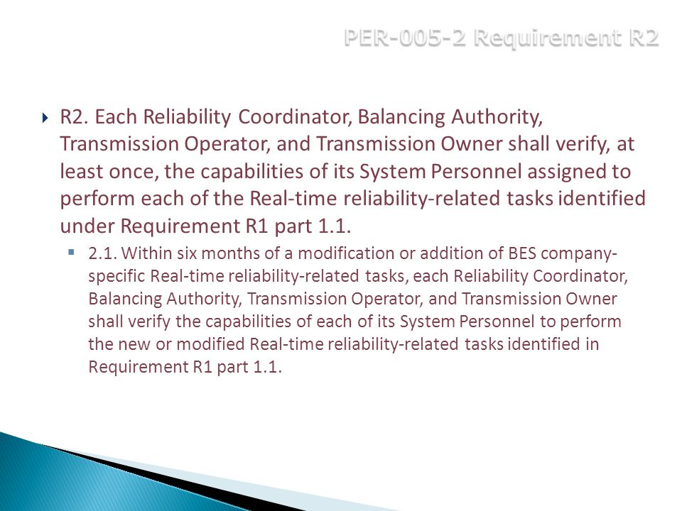 PER-005-2 Requirement R2