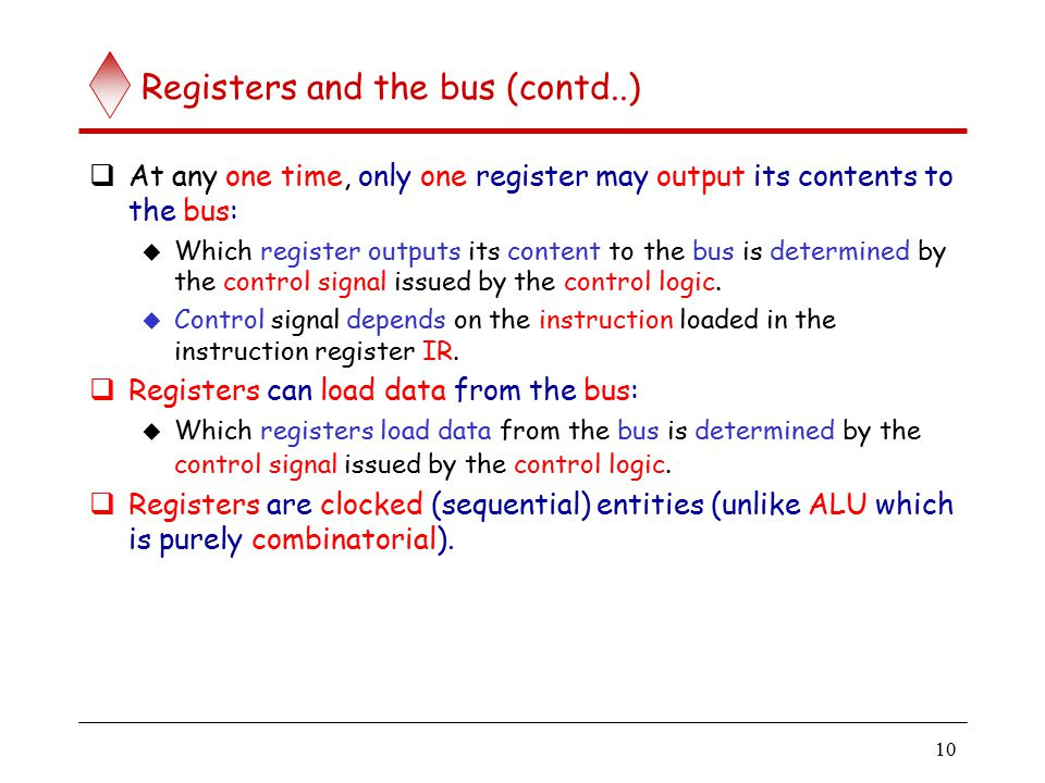 Registers are connected to the bus via