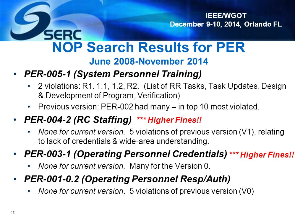 NOP Search Results for PER June 2008-November 2014