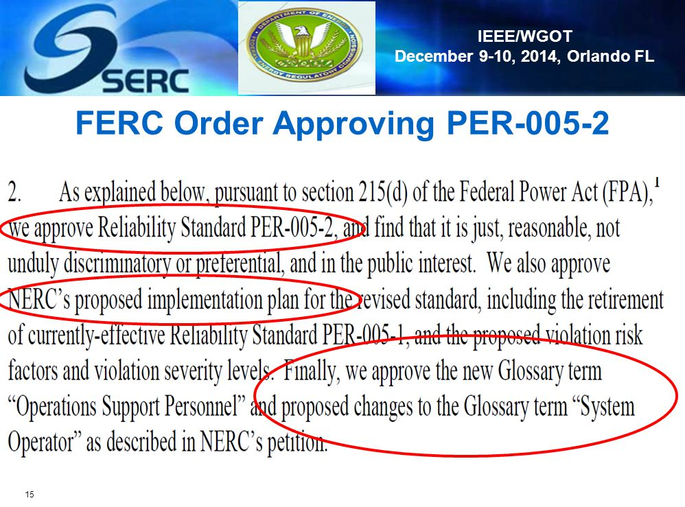 FERC Order Approving PER-005-2