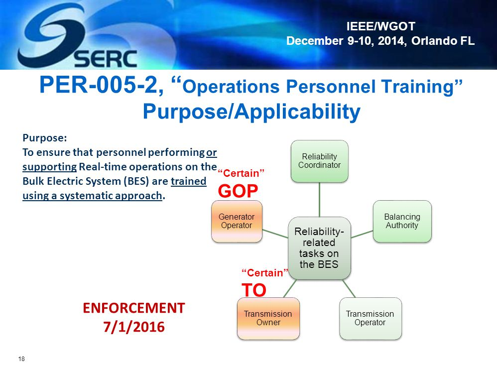 PER-005-2, Operations Personnel Training Purpose/Applicability