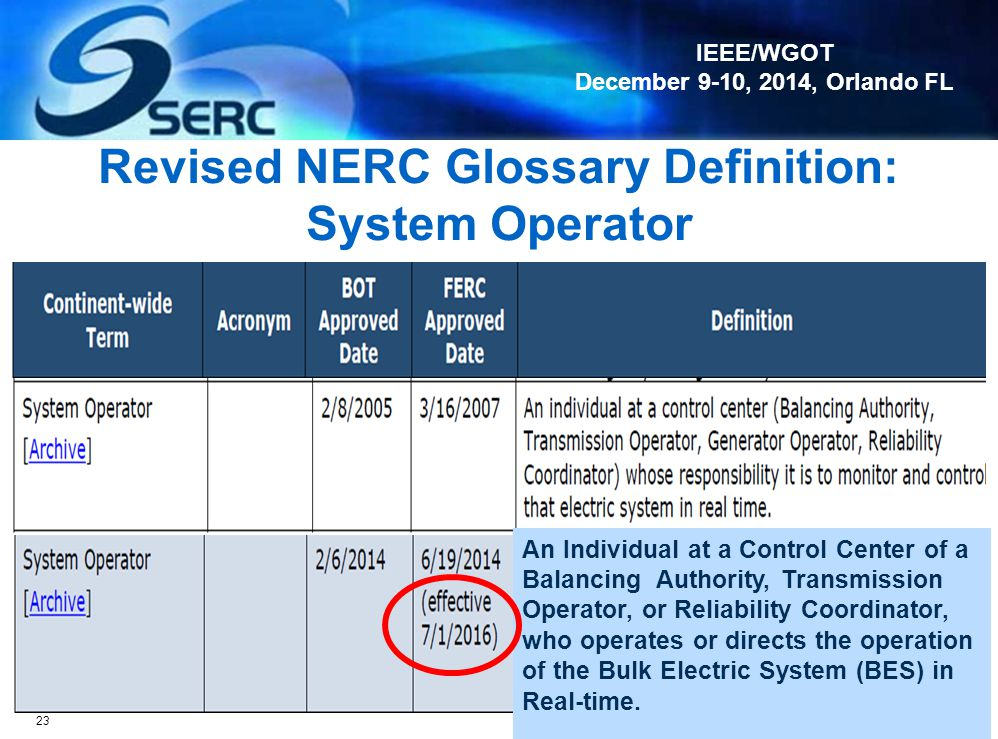 Revised NERC Glossary Definition: System Operator
