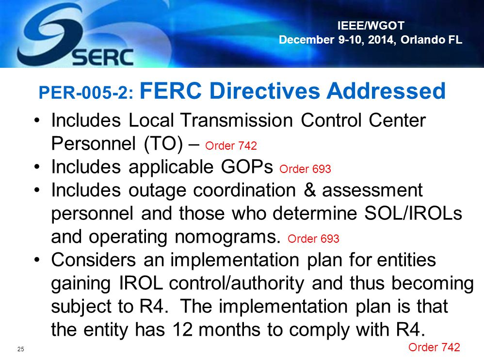 PER-005-2: FERC Directives Addressed