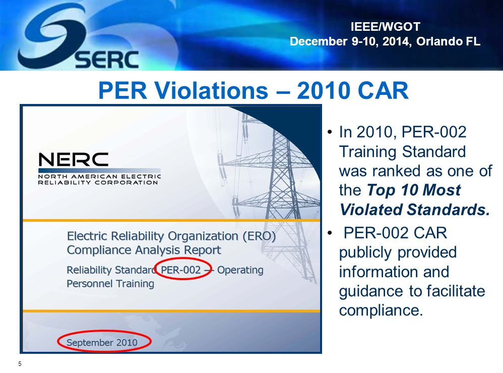 PER Violations – 2010 CAR In 2010, PER-002 Training Standard was ranked as one of the Top 10 Most Violated Standards.