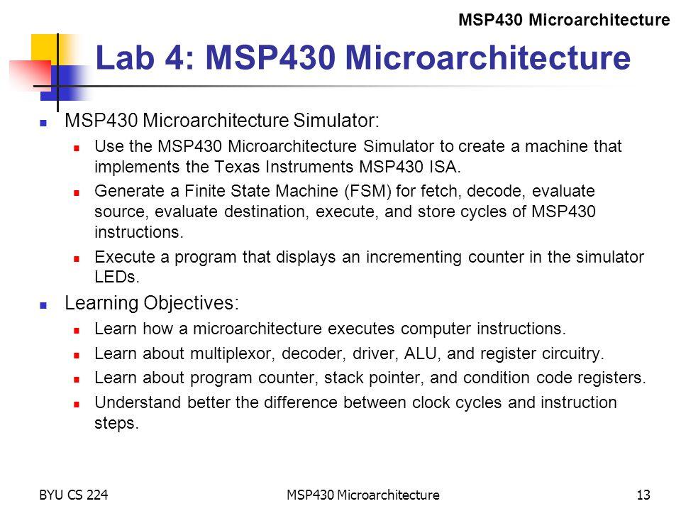 Lab 4: MSP430 Microarchitecture