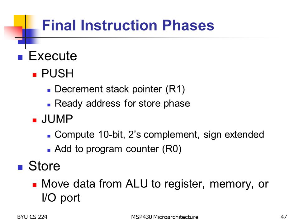 Final Instruction Phases