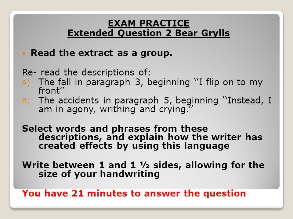 Extended Question 2 Bear Grylls