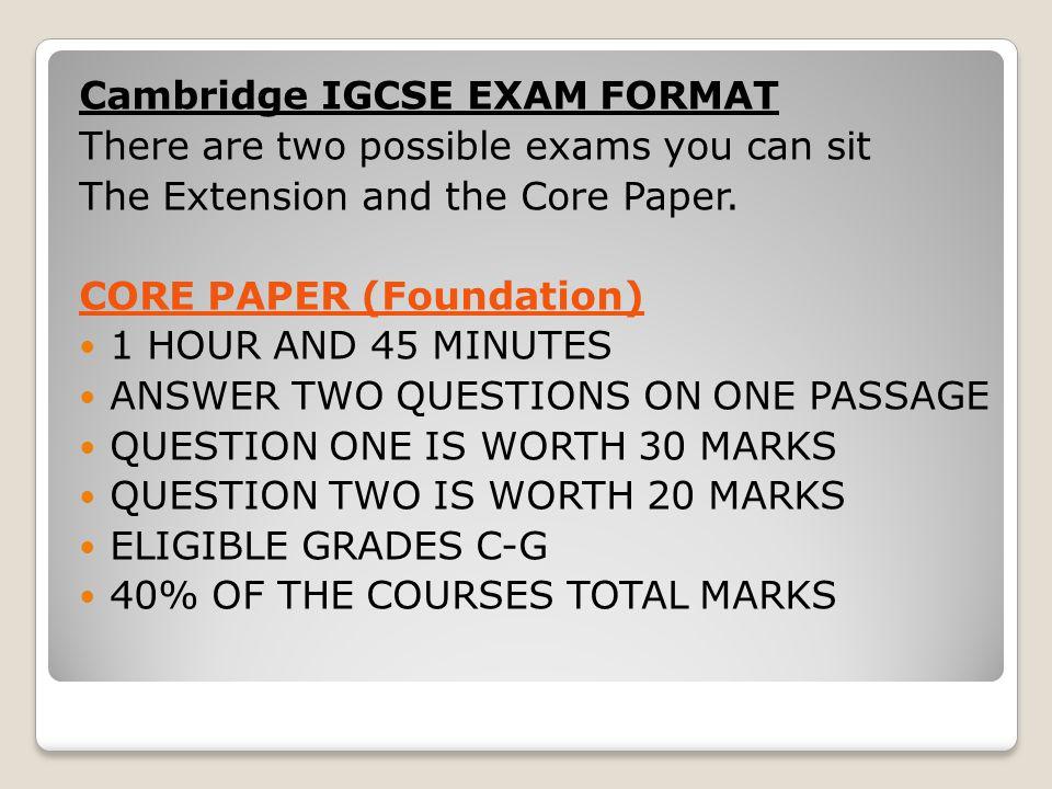 Cambridge IGCSE EXAM FORMAT