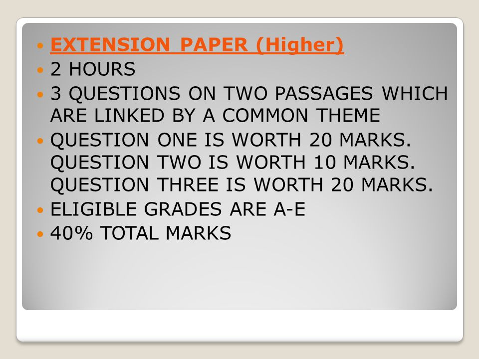 EXTENSION PAPER (Higher)
