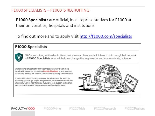F1000 SPECIALISTS – F1000 IS RECRUITING