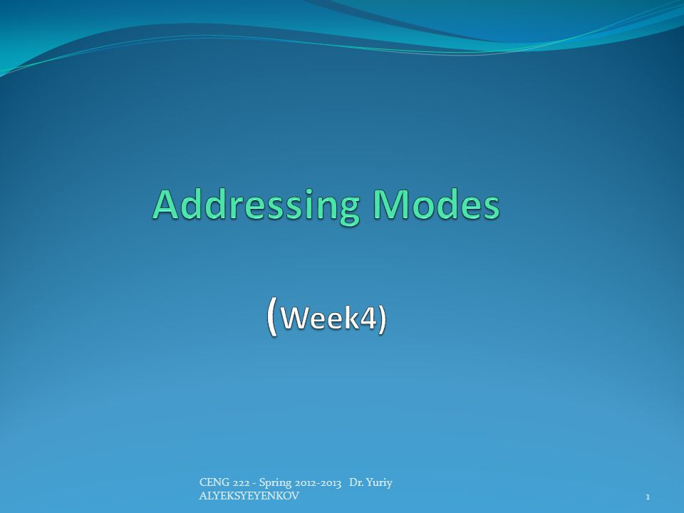 Addressing Modes (Week4)