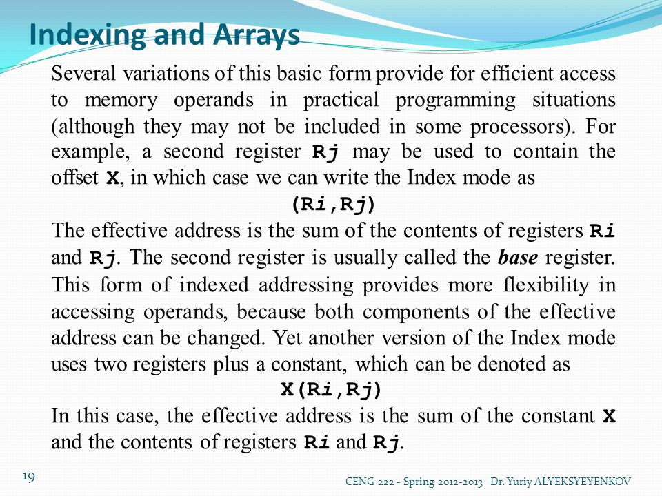 Indexing and Arrays
