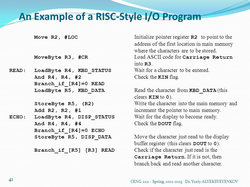 An Example of a RISC-Style I/O Program