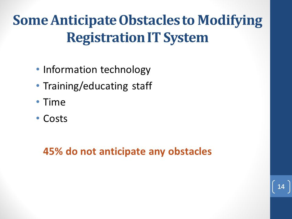 Some Anticipate Obstacles to Modifying Registration IT System