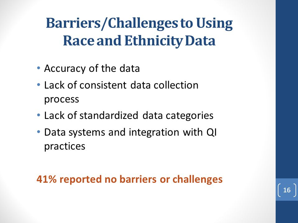 Barriers/Challenges to Using Race and Ethnicity Data