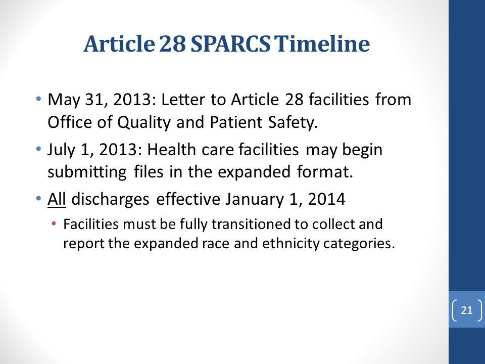 Article 28 SPARCS Timeline
