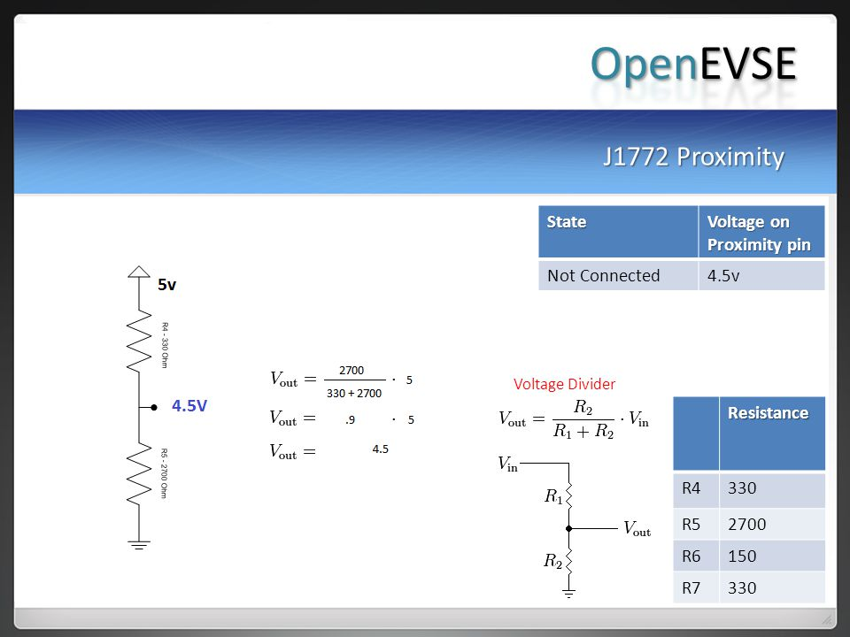 OpenEVSE J1772 Proximity State Voltage on Proximity pin Not Connected