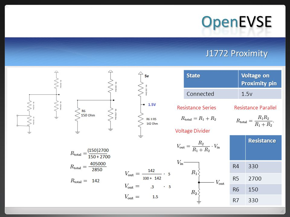OpenEVSE J1772 Proximity State Voltage on Proximity pin Connected 1.5v