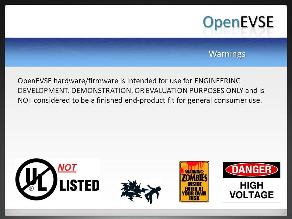 OpenEVSE Warnings.