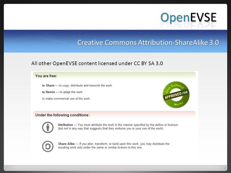 OpenEVSE Creative Commons Attribution-ShareAlike 3.0