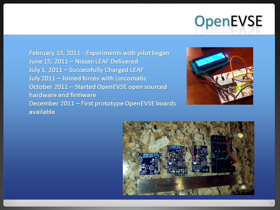 OpenEVSE February 13, 2011 - Experiments with pilot began