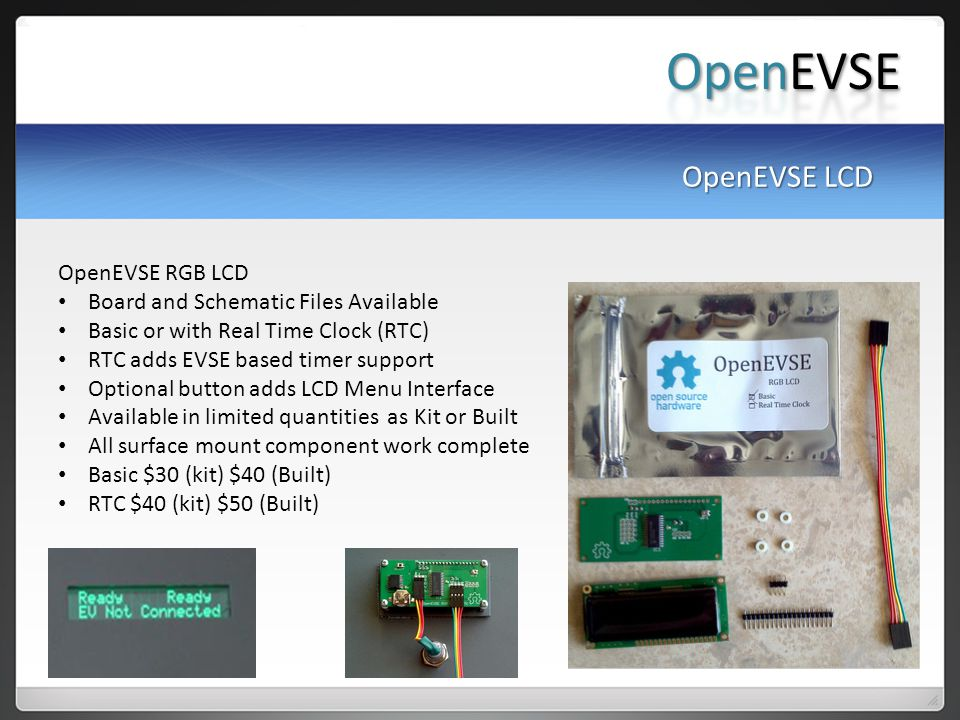 OpenEVSE OpenEVSE LCD OpenEVSE RGB LCD
