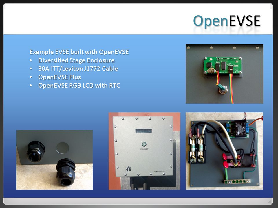 OpenEVSE Example EVSE built with OpenEVSE Diversified Stage Enclosure
