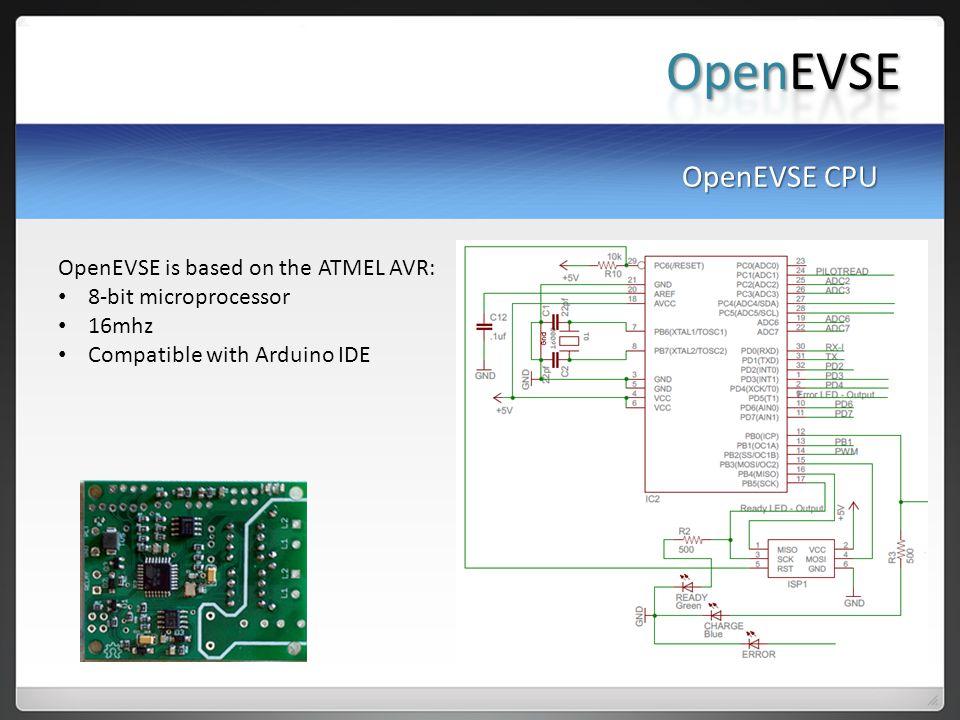 OpenEVSE OpenEVSE CPU OpenEVSE is based on the ATMEL AVR: