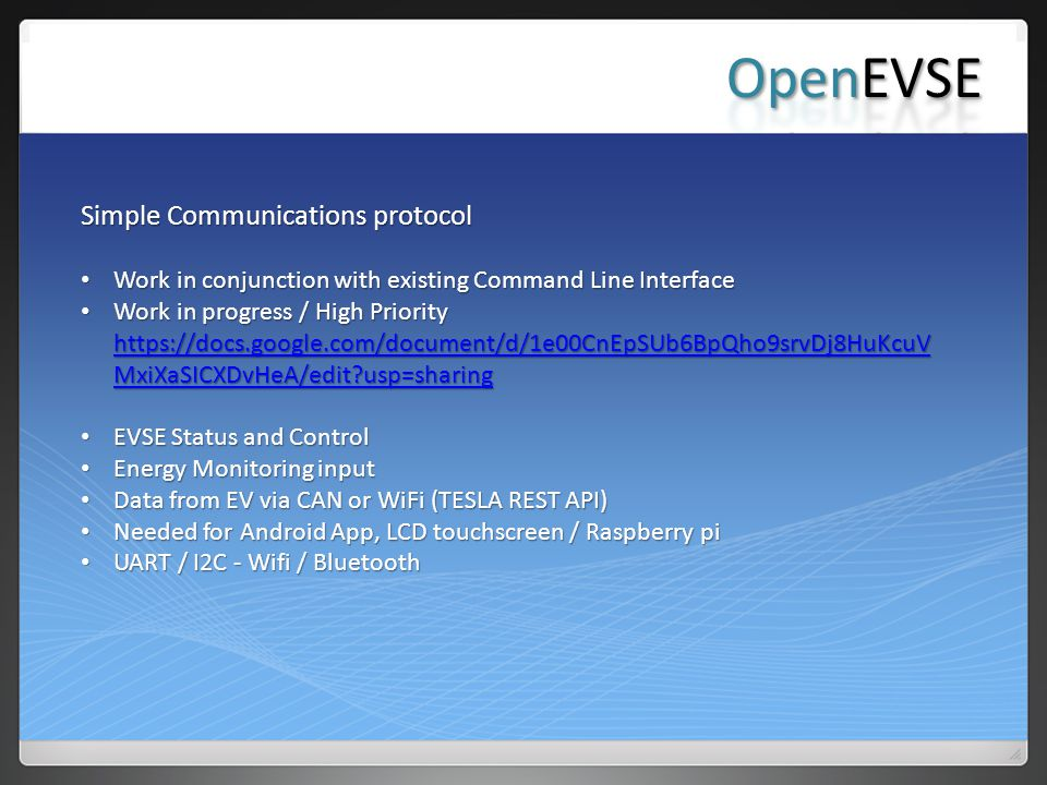 OpenEVSE Simple Communications protocol