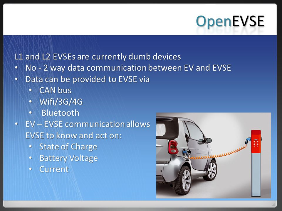 OpenEVSE L1 and L2 EVSEs are currently dumb devices