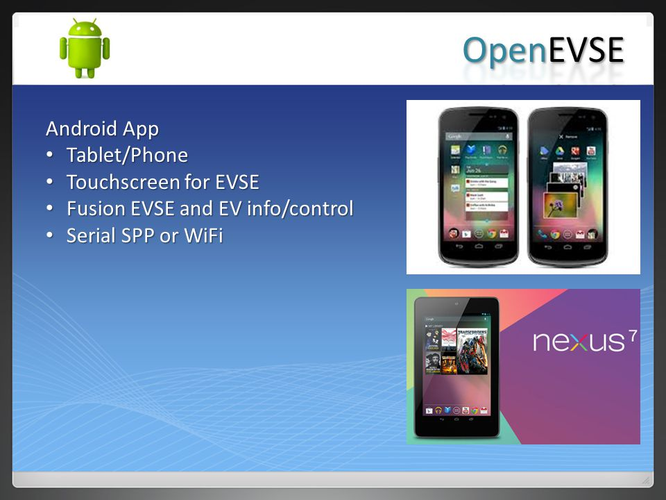 OpenEVSE Android App Tablet/Phone Touchscreen for EVSE