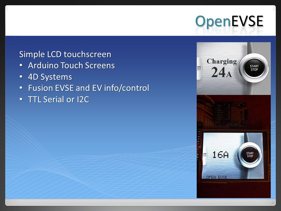 OpenEVSE Simple LCD touchscreen Arduino Touch Screens 4D Systems