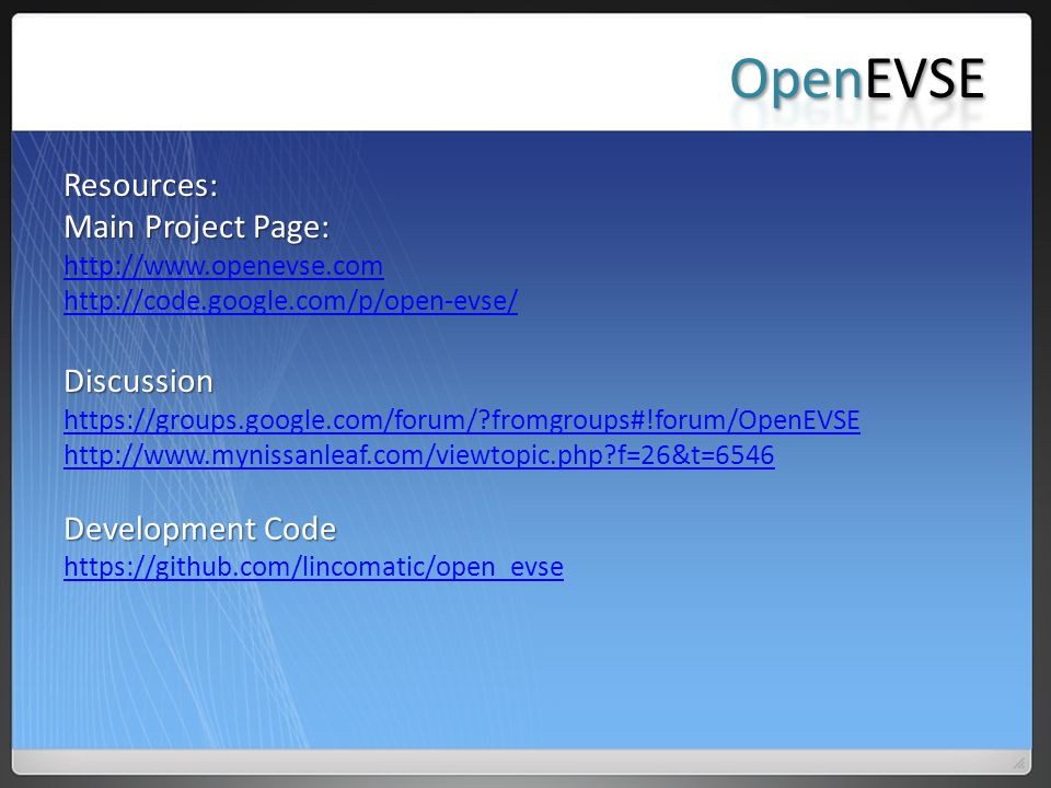 OpenEVSE Resources: Main Project Page: Discussion Development Code