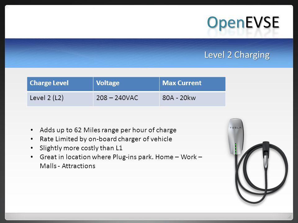 OpenEVSE Level 2 Charging Charge Level Voltage Max Current
