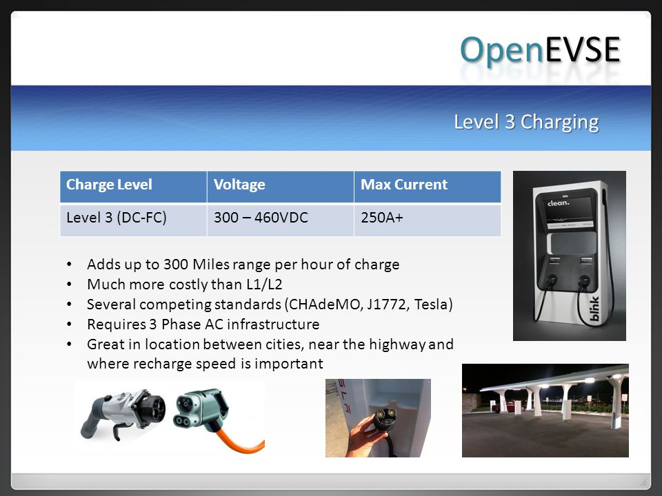 OpenEVSE Level 3 Charging Charge Level Voltage Max Current