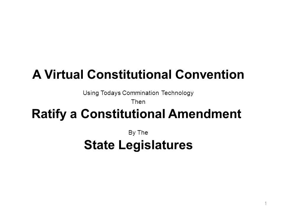 A Virtual Constitutional Convention