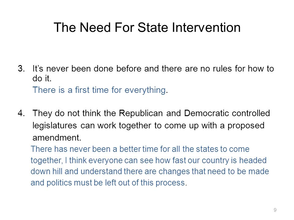 The Need For State Intervention