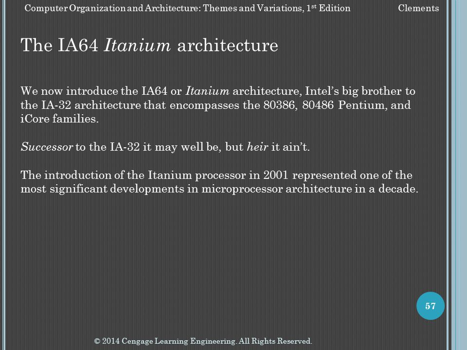 The IA64 Itanium architecture