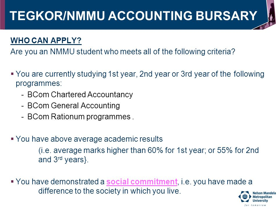 TEGKOR/NMMU ACCOUNTING BURSARY