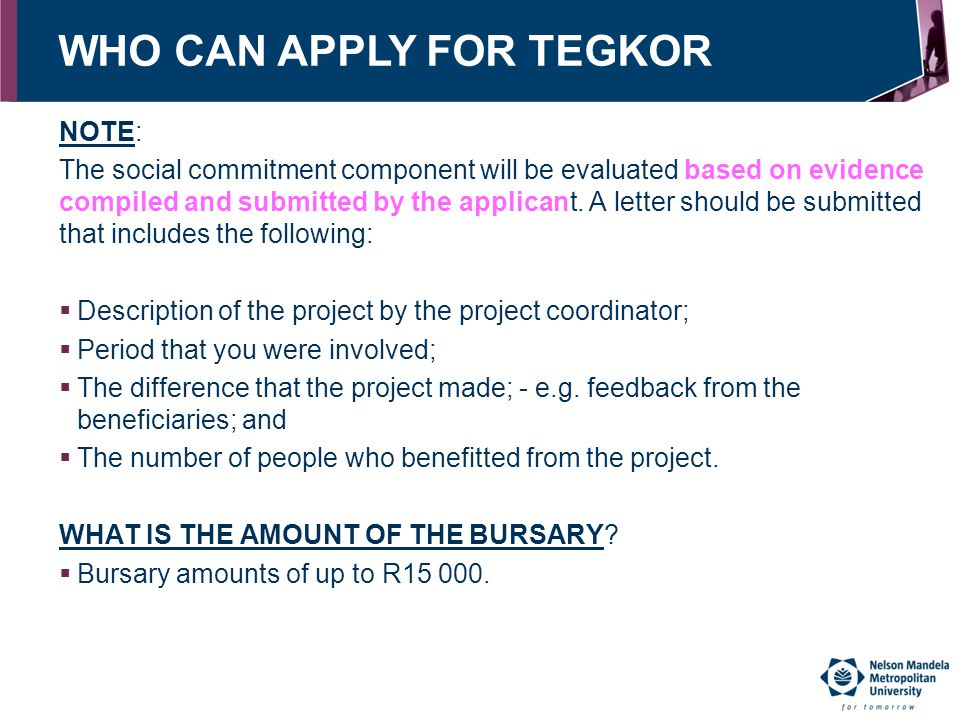 WHO CAN APPLY FOR TEGKOR