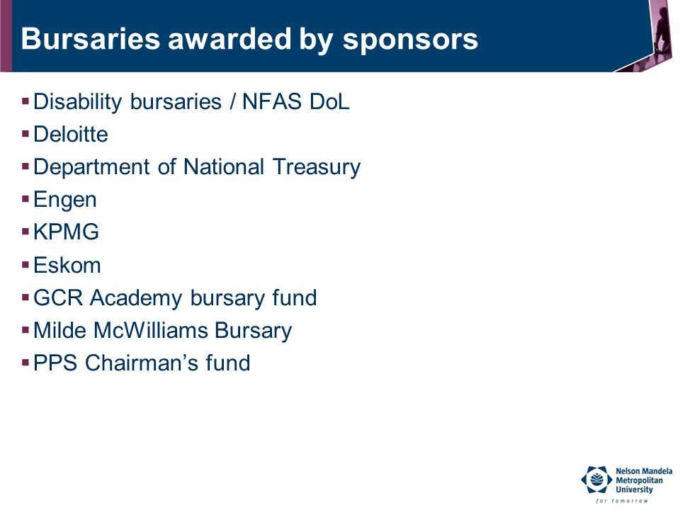 Bursaries awarded by sponsors