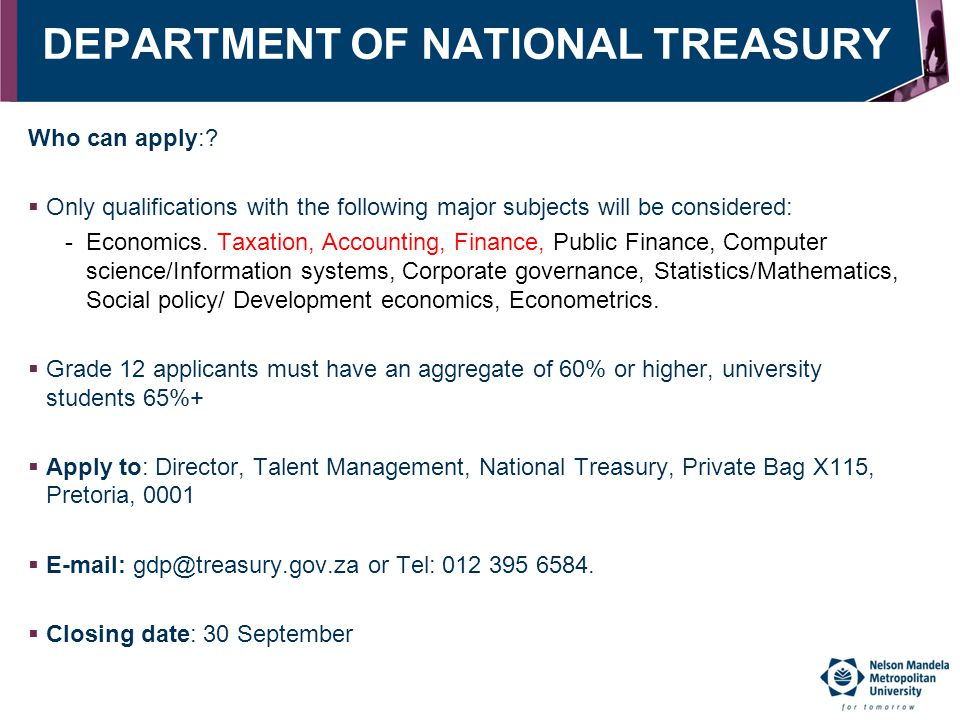 DEPARTMENT OF NATIONAL TREASURY