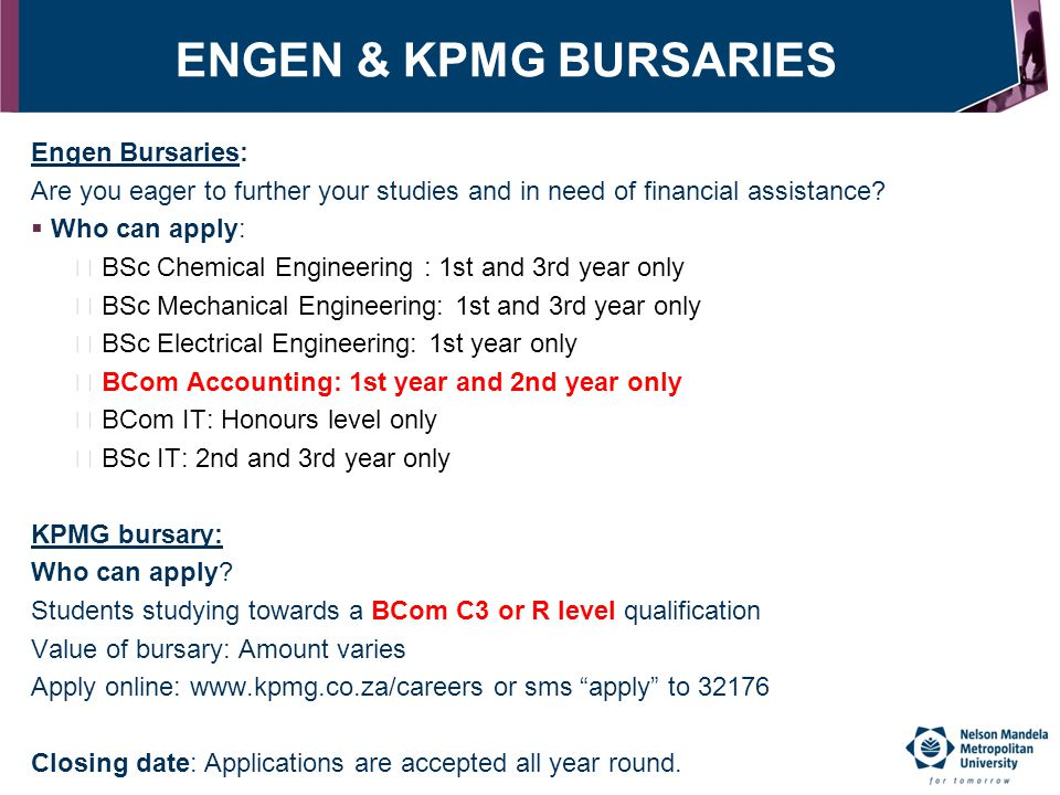 ENGEN & KPMG BURSARIES Engen Bursaries: