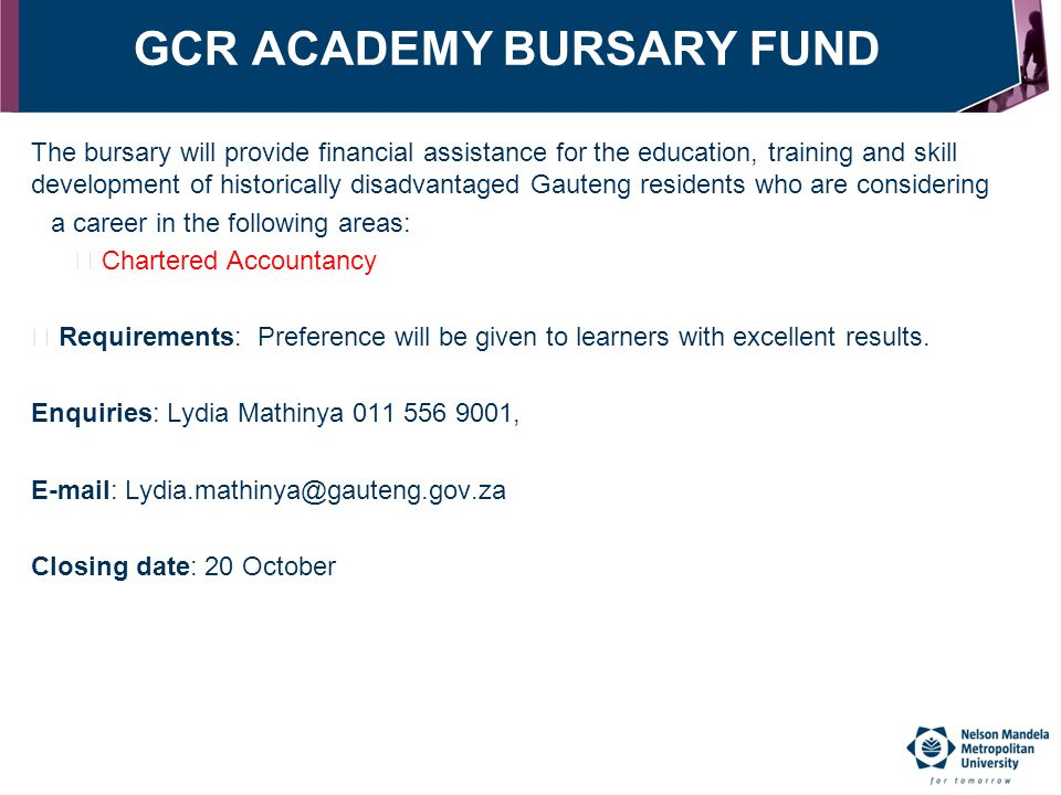 GCR ACADEMY BURSARY FUND