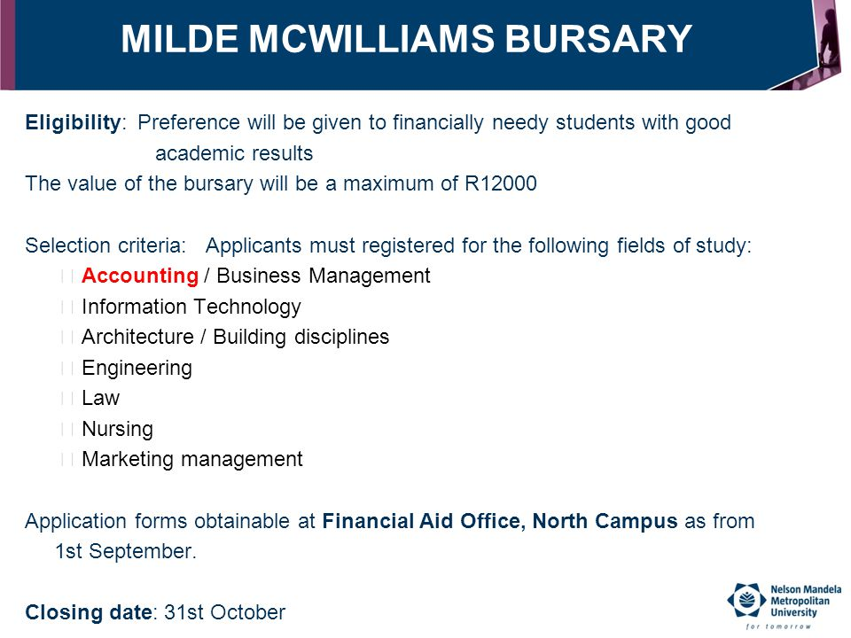 MILDE MCWILLIAMS BURSARY