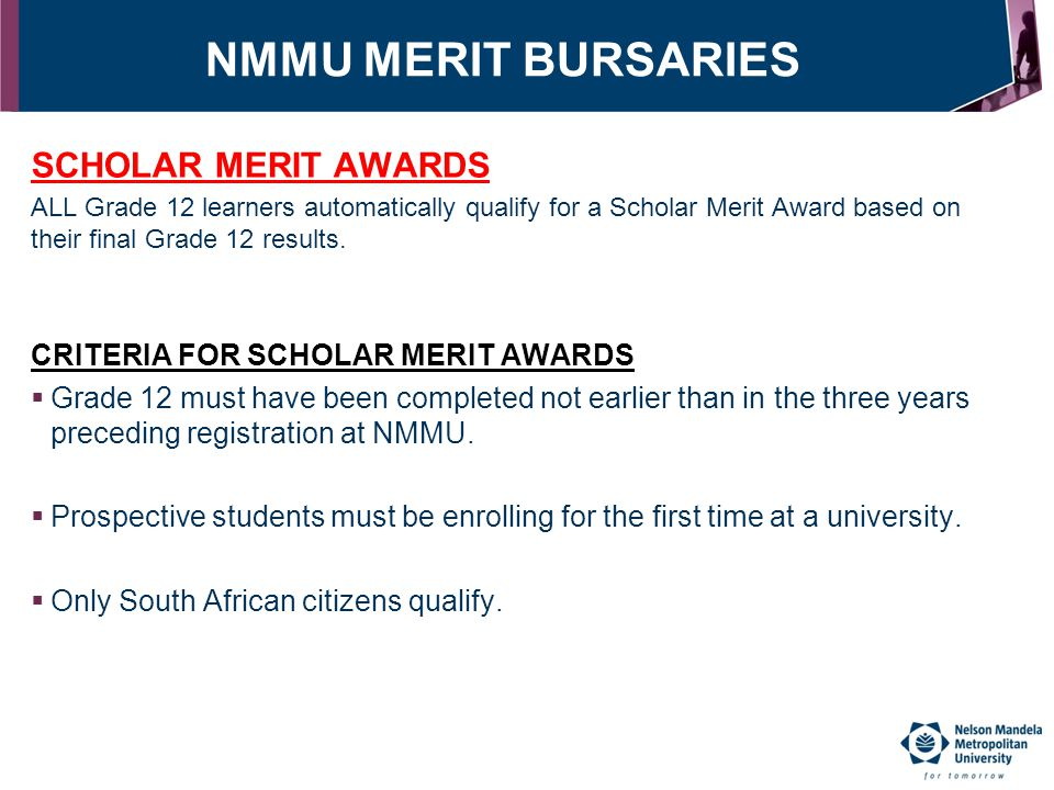 NMMU MERIT BURSARIES SCHOLAR MERIT AWARDS